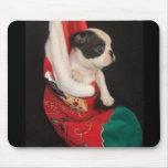 Navidad Mousepad del perrito de Boston Terrier