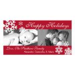 Navidad múltiple Photocard (Borgoña) de los copos  Tarjeta Fotografica