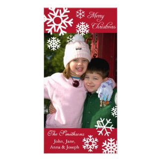 Navidad múltiple Photocard Borgoña de los copos Tarjetas Fotográficas