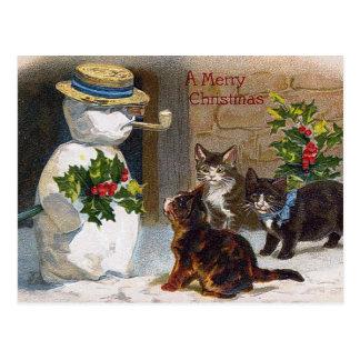 Navidad muñeco de nieve del vintage y tarjeta de l postales