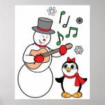 Navidad muñeco de nieve, pingüino y guitarra posters