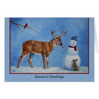 Navidad muñeco de nieve y ciervos tarjeta de felicitación