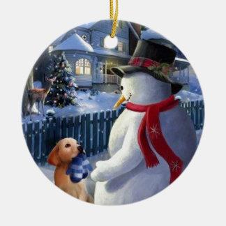 Navidad muñeco de nieve y perro del vintage adorno para reyes