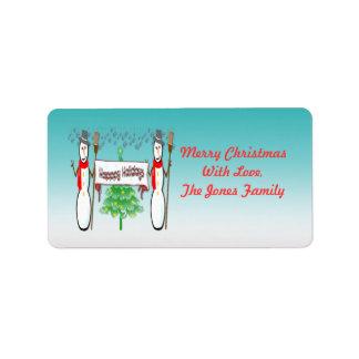 Navidad - muñecos de nieve, buenas fiestas etiquet etiqueta de dirección