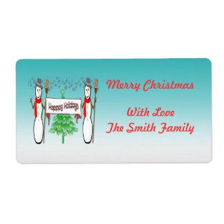 Navidad - muñecos de nieve, buenas fiestas etiquet etiquetas de envío