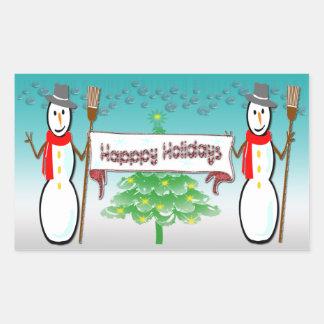 Navidad - muñecos de nieve buenas fiestas pegatin