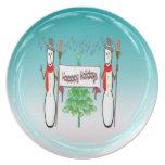Navidad - muñecos de nieve, buenas fiestas placa platos