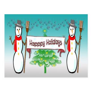Navidad - muñecos de nieve buenas fiestas postal