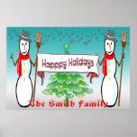 Navidad - muñecos de nieve, buenas fiestas poster