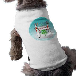 Navidad - muñecos de nieve, buenas fiestas ropa de camisetas de perrito