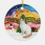 Navidad Music2 - Turkish Van Cat Adorno Navideño Redondo De Cerámica