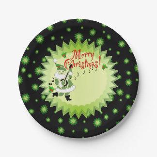 Navidad musical alegre del duende de Santa Plato De Papel De 7 Pulgadas