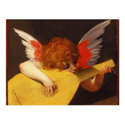 Navidad musical del vintage del ángel tarjetas postales