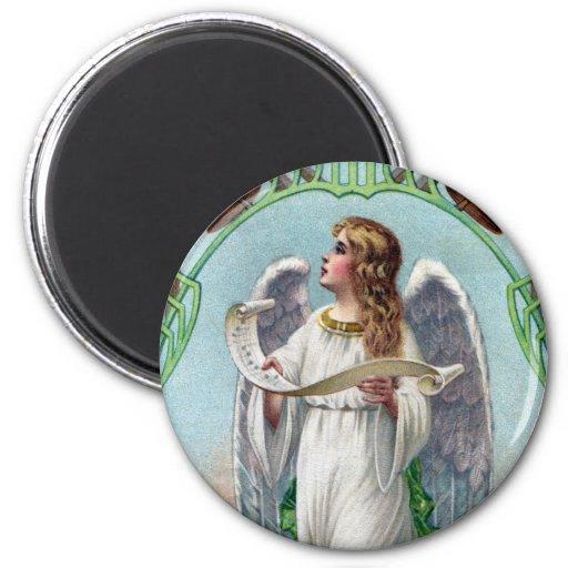 Navidad musical del vintage del ángel y de Belces Imán Redondo 5 Cm