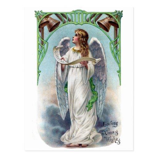 Navidad musical del vintage del ángel y de Belces Tarjeta Postal