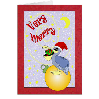 Navidad muy Felices del pelícano de Santa Felicitaciones