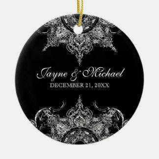 Navidad n del remolino blanco negro del damasco de adorno para reyes