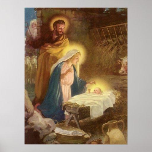 Navidad natividad, bebé Jesús del vintage de Maria Posters