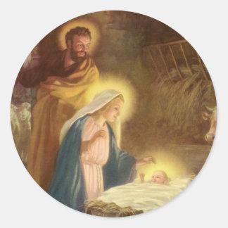Navidad natividad, bebé Jesús del vintage de Maria Etiqueta Redonda