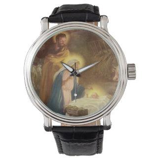 Navidad natividad, bebé Jesús del vintage de Maria Reloj