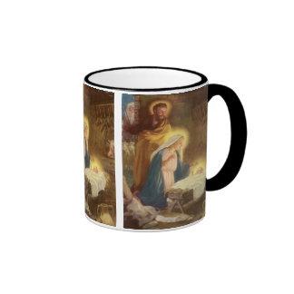 Navidad natividad, bebé Jesús del vintage de Maria Taza De Dos Colores