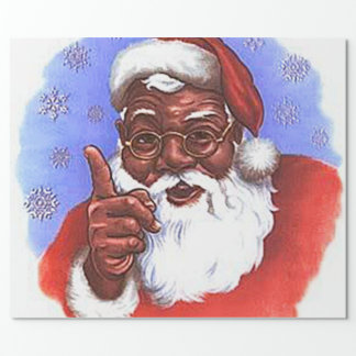 Navidad negro afroamericano de Papá Noel Papel De Regalo