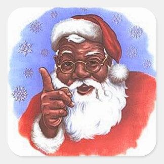 Navidad negro afroamericano de Papá Noel Pegatina Cuadrada