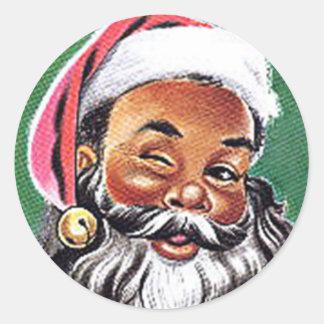 Navidad negro afroamericano de Papá Noel Pegatina Redonda