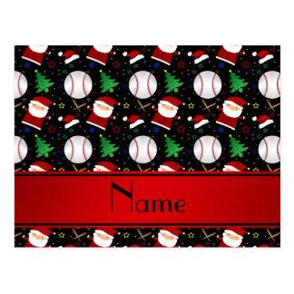 Navidad negro conocido personalizado del béisbol tarjeta postal