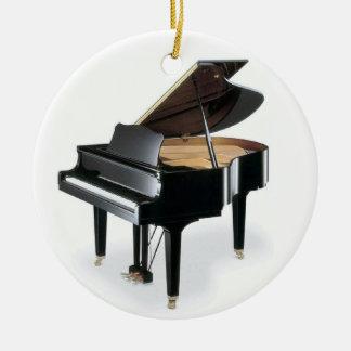 Navidad negro de la música del piano de cola adorno navideño redondo de cerámica