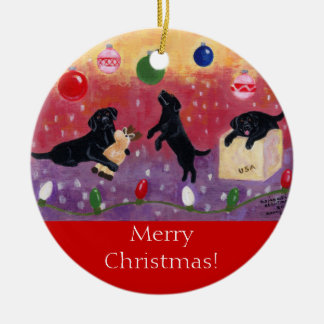 Navidad negro de Labrador Adorno Redondo De Cerámica
