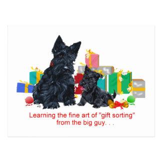 Navidad negro del escocés y del perrito postal