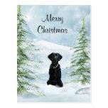 Navidad negro del laboratorio tarjeta postal