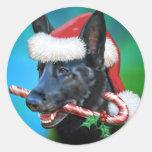 Navidad negro del pastor alemán pegatina redonda