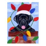 Navidad negro del perrito de Labrador Postales