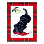 Navidad negro del perrito de Labrador y del gorra  Tarjeta Postal