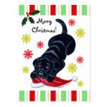 Navidad negro del perrito de Labrador y del gorra  Tarjetas Postales