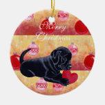 Navidad negro personalizado del perrito del labora adornos