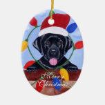 Navidad negro personalizado del perrito del labora ornaments para arbol de navidad