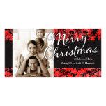 Navidad negro rojo del damasco del vintage de la C Tarjeta Fotográfica