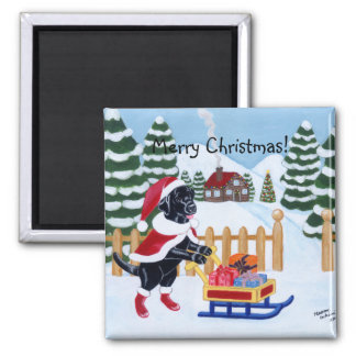 Navidad negro Santa de Labrador Imán Cuadrado