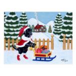 Navidad negro Santa de Labrador Tarjeta Postal