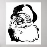 Navidad negro y blanco Papá Noel del vintage retro Posters