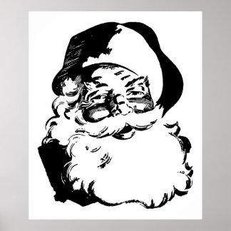 Navidad negro y blanco Papá Noel del vintage retro Póster