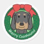 Navidad negro y del moreno del Coonhound Etiqueta Redonda