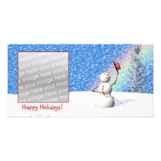 Navidad Nevado del muñeco de nieve Tarjetas Fotográficas Personalizadas
