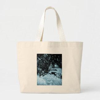 Navidad Nevado en el vintage de New York City Bolsa De Tela Grande