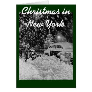 Navidad Nevado en el vintage de New York City Tarjeta De Felicitación