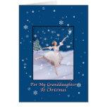 Navidad, nieta, bailarina de la reina de la nieve tarjeton