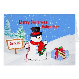 Navidad, nin@era, muñeco de nieve, regalo, nieve tarjeta de felicitación